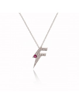 Collana Dj Flash Luxe in Oro Bianco & Diamanti, Rubino