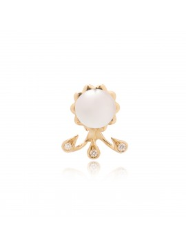 White Pearl & Drops Rose Gold Earring