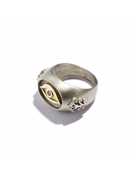 Yellow Gold, Black Silver & Brown Diamond Chevalier Eye Ring
