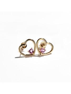 Orecchino Love Me Luxe in Oro Rosa & Zaffiro Rosa