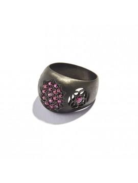 Black Silver & Rubies Pavé Chevalier Ring