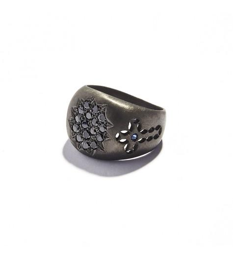 Black Silver & Black Diamonds Chevalier Ring