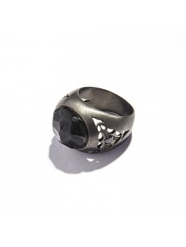 Black Obsidian Cabochon & Black Diamonds Chevalier Ring