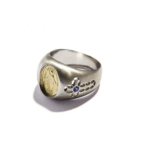 Yellow Gold, Silver & Sapphires Chevalier Virgin Mary Ring