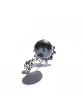Black Pearl & Drop White Gold Earring