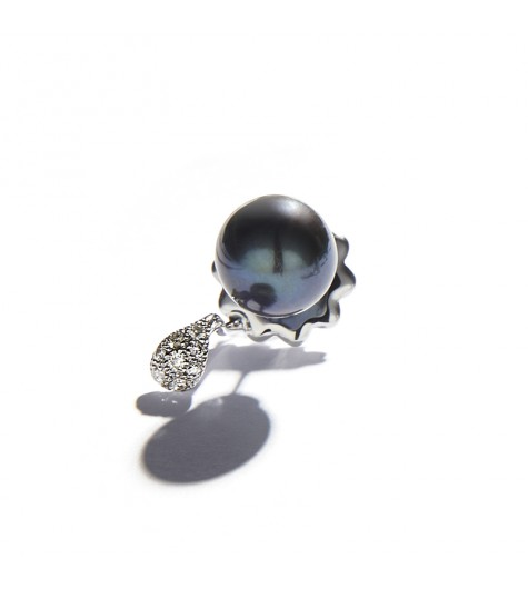Black Pearl & Drop White Gold Earring