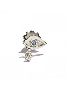 White Gold Eye and Drop Earring