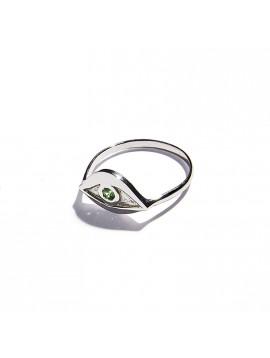White Gold & Tsavorite Eye Ring
