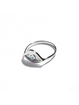 White Gold & Aquamarine Eye Ring