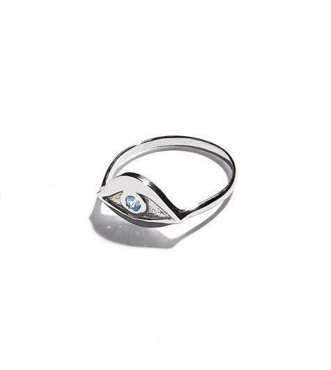 White Gold & Aquamarine Eye Ring