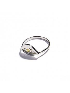 Anello Occhio in Oro Bianco & Quarzo citrino
