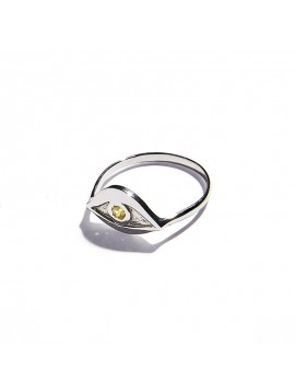 White Gold & Citrine quartz Eye Ring