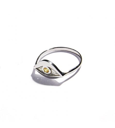 White Gold & Citrine quartz Eye Ring