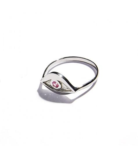 White Gold & Pink tourmaline Eye Ring