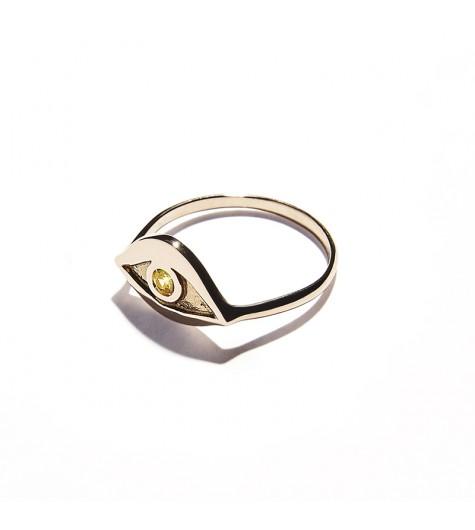 Rose Gold & Citrine Quartz Eye Ring