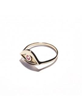 Anello Occhio in Oro Rosa & Tormalina rosa