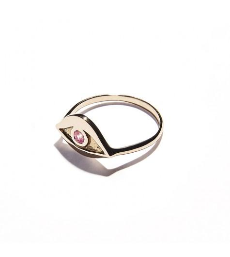 Rose Gold & Pink Tourmaline Eye Ring