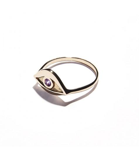 Rose Gold & Amethyst Eye Ring