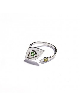 White Gold & Tsavorite and Citrine Quartz Eye Ring