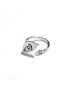 White Gold & Tsavorite and Amethyst Eye Ring