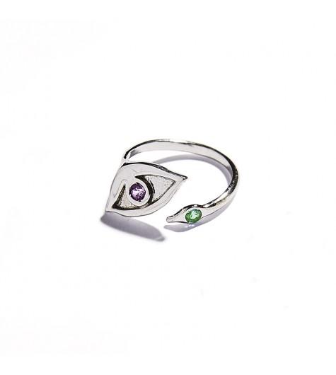 White Gold & Tsavorite and Amethyst Eye Ring