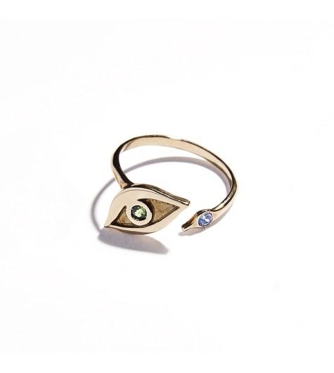 Rose Gold & Tsavorite and Aquamarine Eye Ring