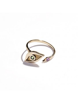 Rose Gold & Tsavorite and Amethyst Eye Ring