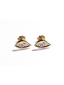 Rose Gold & Aquamarine Eye Earrings