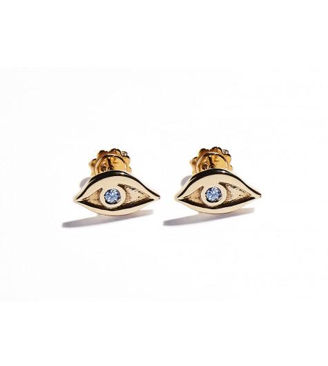 Rose Gold & Aquamarine Eye Earrings