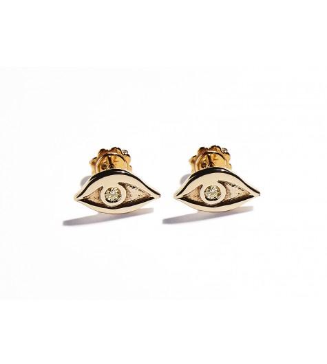 Rose Gold & Citrine Quartz Eye Earrings