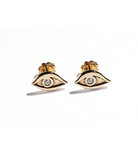 Rose Gold & White Diamonds Eye Earrings