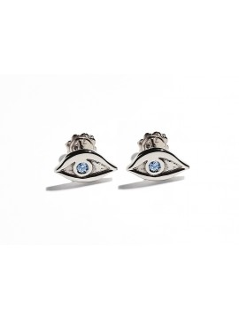 White Gold & Light Blue Aquamarine Eye Earrings