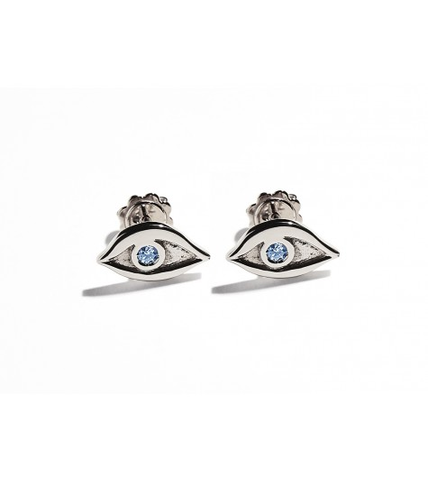 White Gold & Light Blue Sapphires Eye Earrings