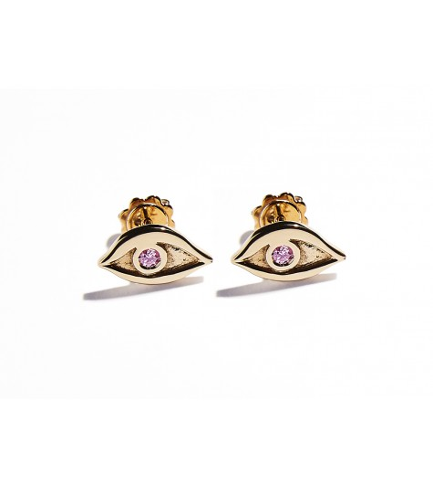 Rose Gold & Pink Tourmaline Eye Earrings