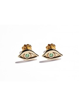 Rose Gold & Tsavorite Eye Earrings