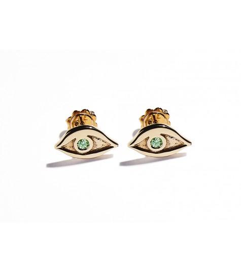 Rose Gold & Tsavorite Eye Earrings