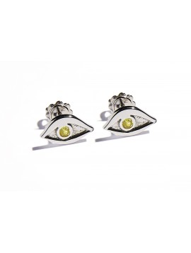 White Gold & Citrine Quartz Eye Earrings