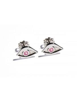 Orecchini Occhio in Oro Bianco & Tormalina rosa