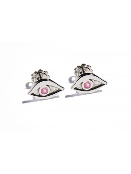 White Gold & Pink Tourmaline Eye Earrings