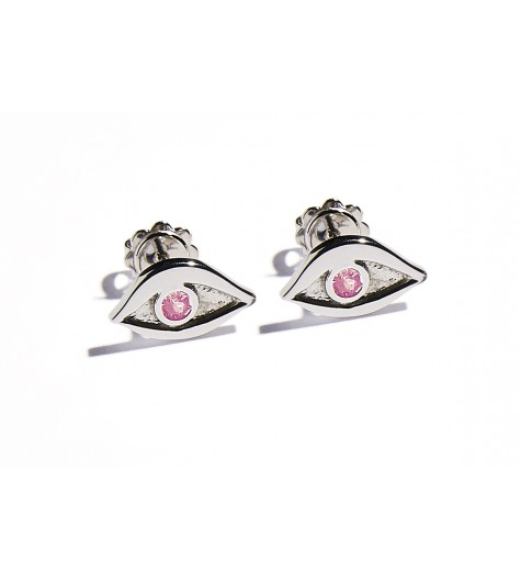 White Gold & Pink Tourmaline Eye Earrings
