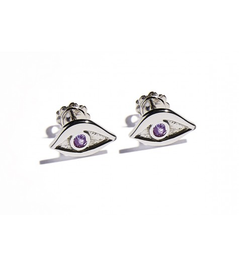 White Gold & Amethyst Eye Earrings