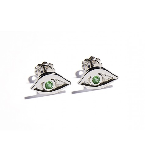 White Gold & Tsavorite Eye Earrings